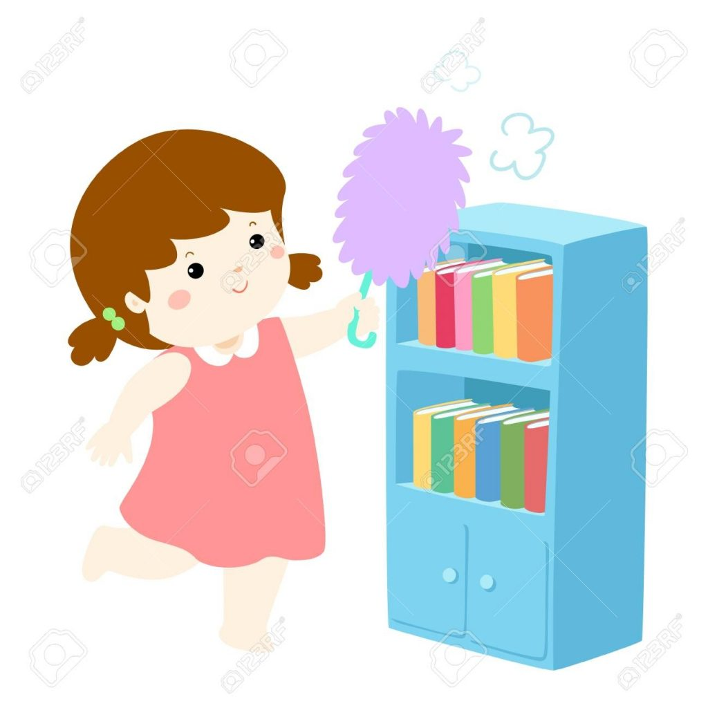 cute girl wiping the dust from bookshelf vector illustration