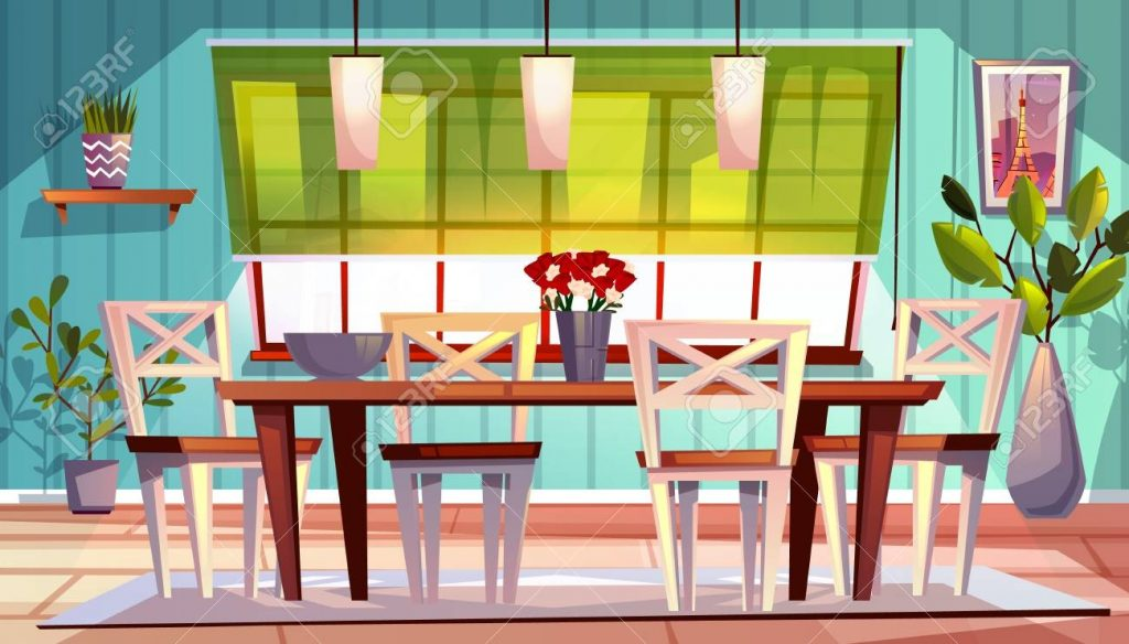 dining room interior vector illustration of modern or retro apartment