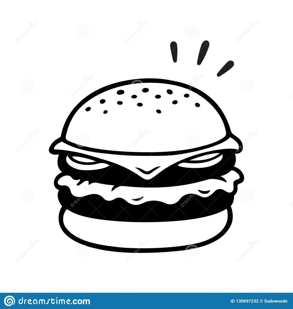 double cheeseburger drawing stock vector illustration of