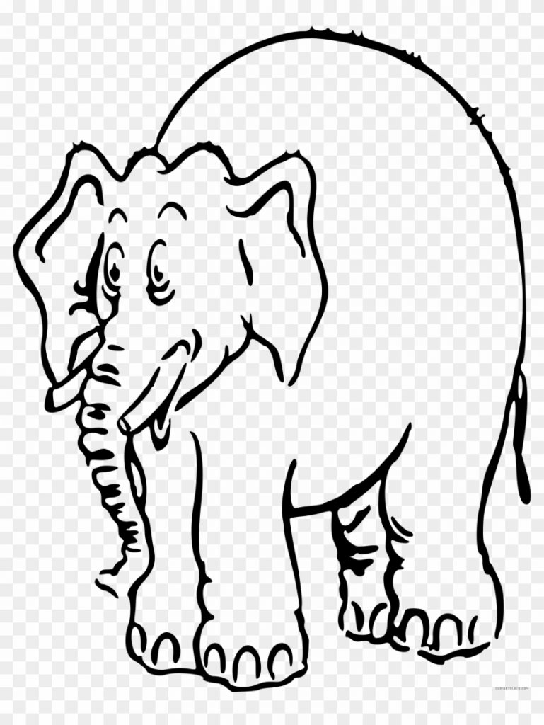 elephant outline animal free black white clipart images