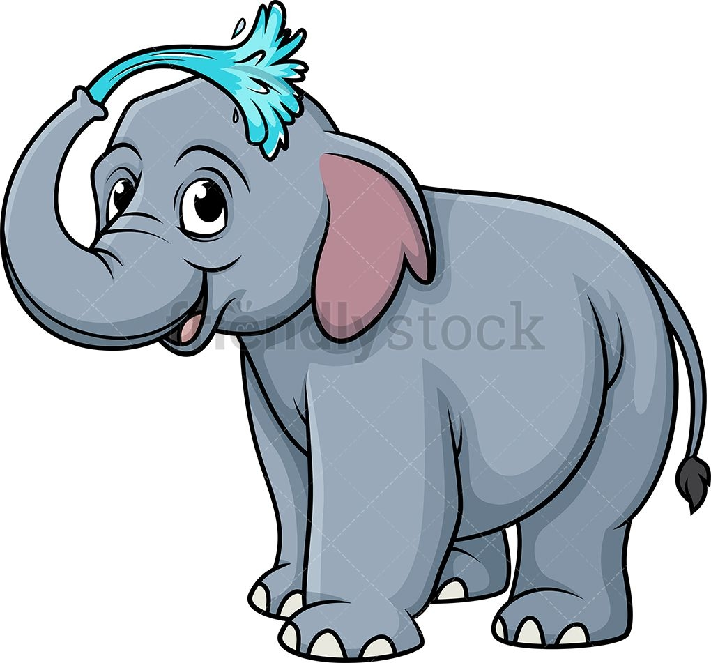 elephant showering cartoon clip art cartoon illustration