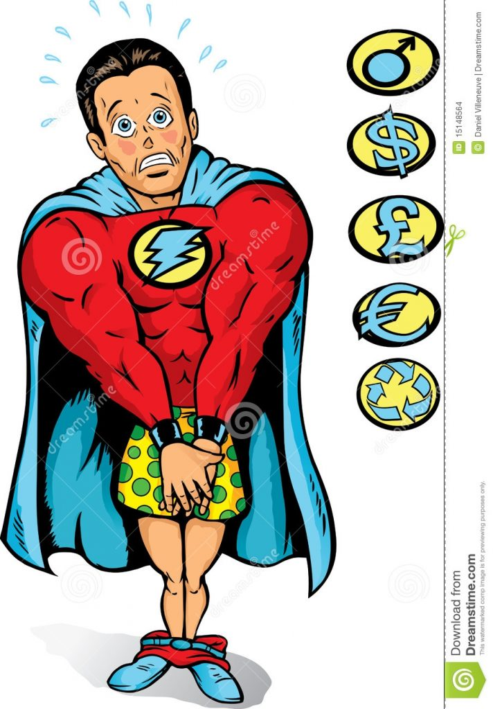 embarrassed super guy stock vector illustration of