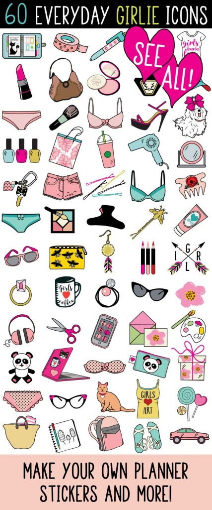 everyday girlie icons planner sticker clipart girl icons