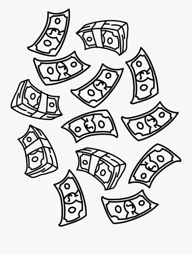 falling money clipart black and white free transparent