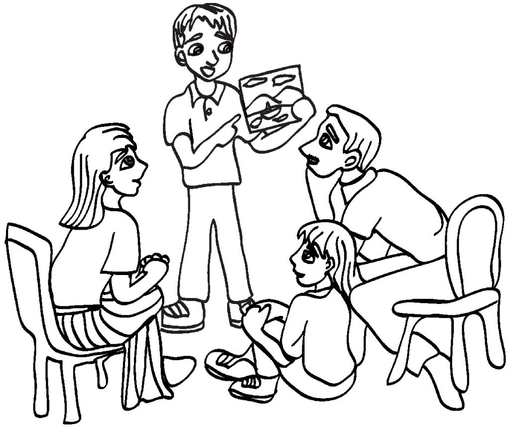 family black and white large family black and white clipart