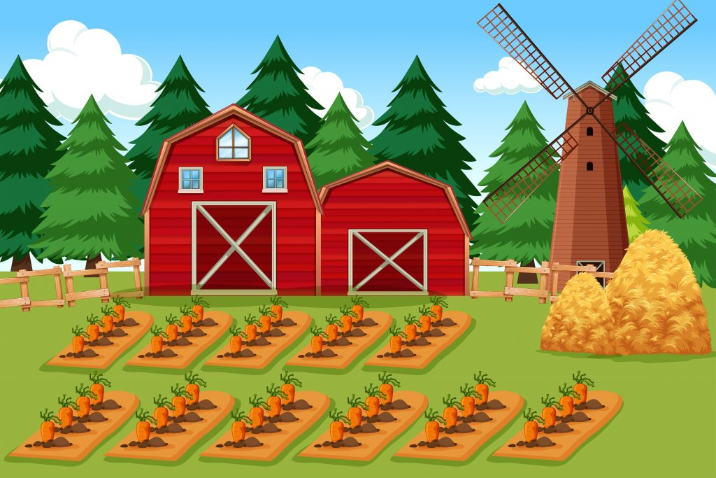 farm scene with carrots download free vectors clipart