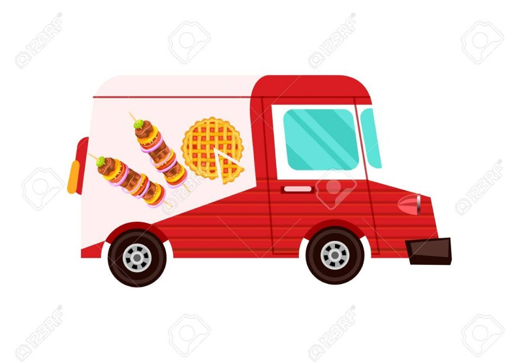 fast food delivery truck icon order food on home product shipping