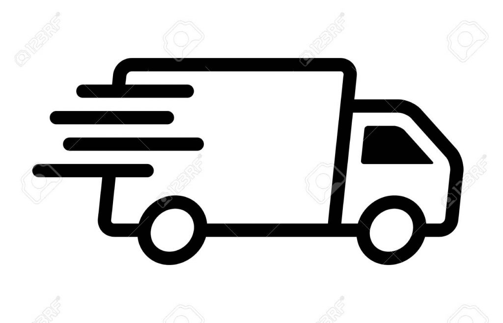 fast moving shipping delivery truck line art vector icon for