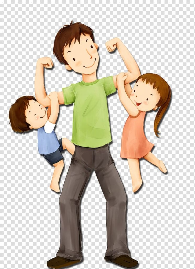 fathers day sunday child illustration dad and kids man