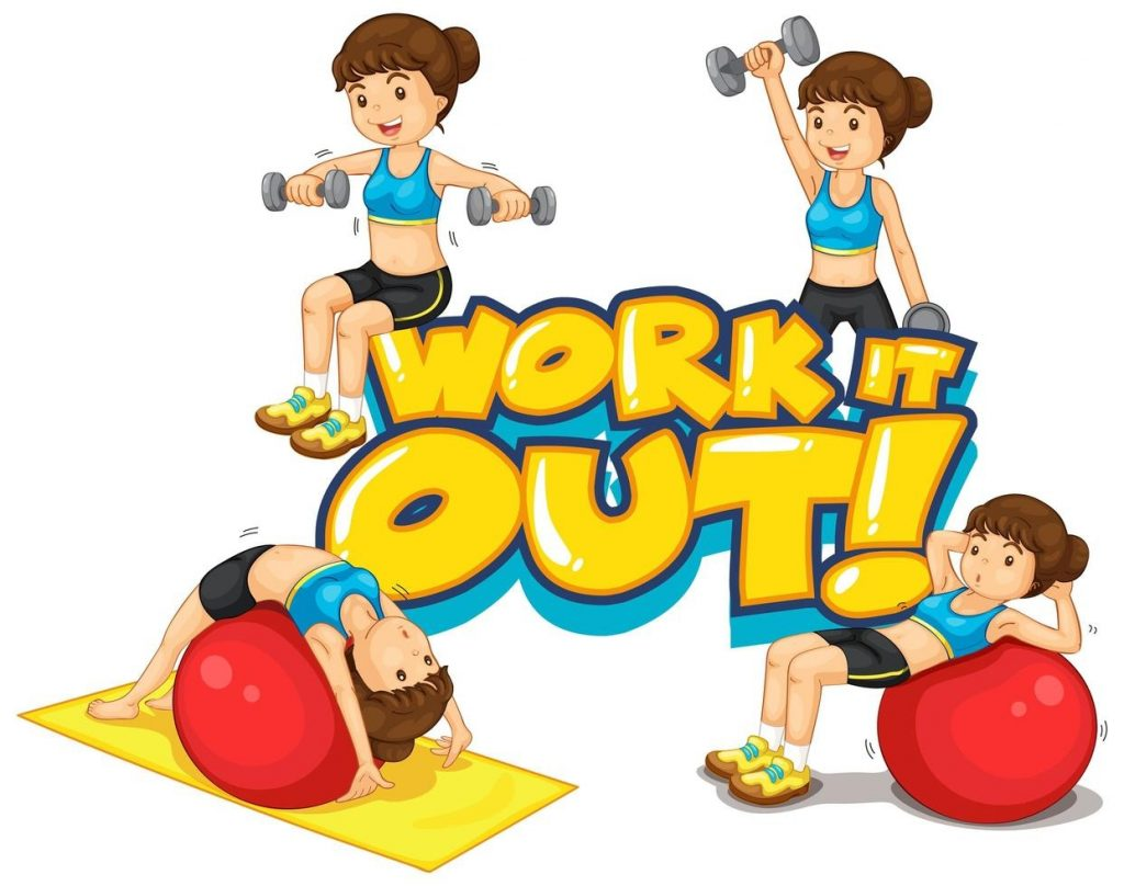 font design for word work it out with woman doing exercise