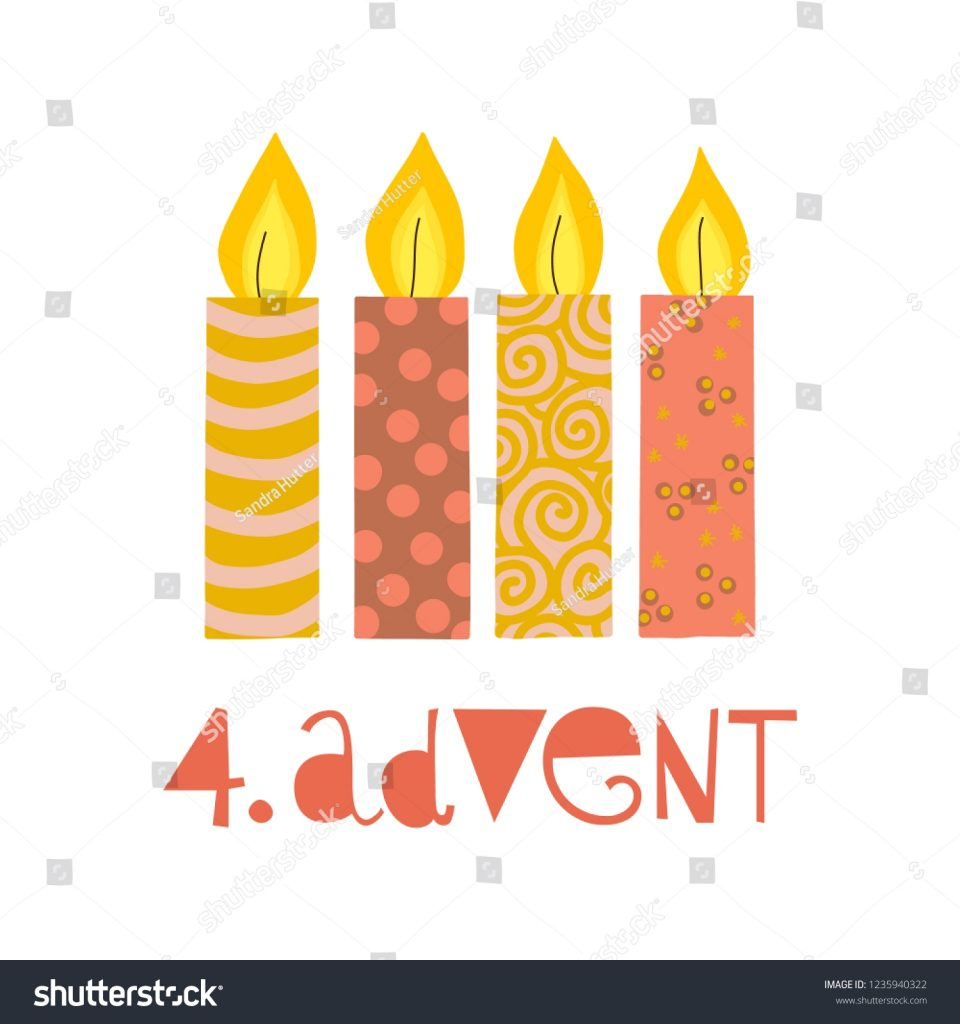 four burning advent candles vector illustration stock vector
