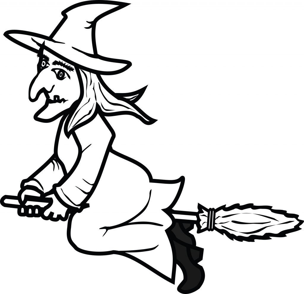 free clipart of a flying witch