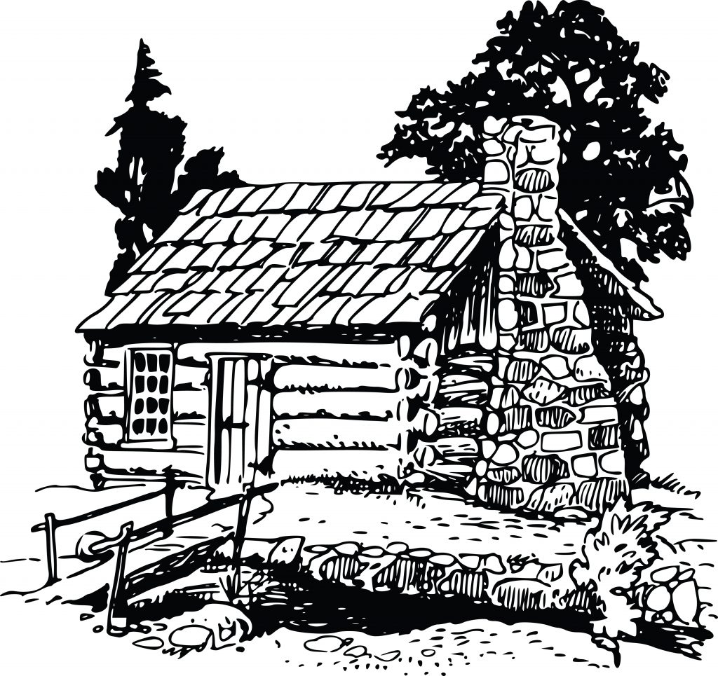 free clipart of a rustic log cabin