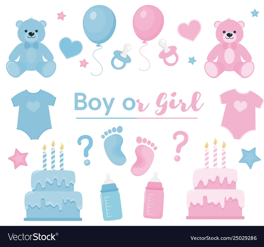 gender reveal clipart blue and pink colors