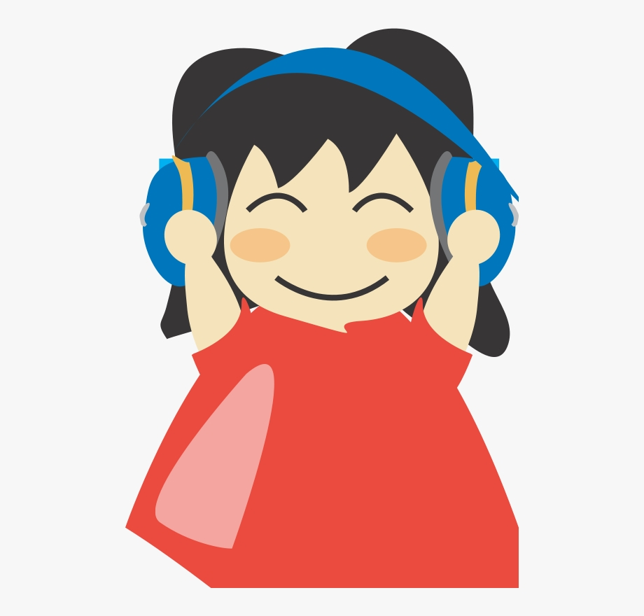 girl with headphone3 clip art listen to music clipart png