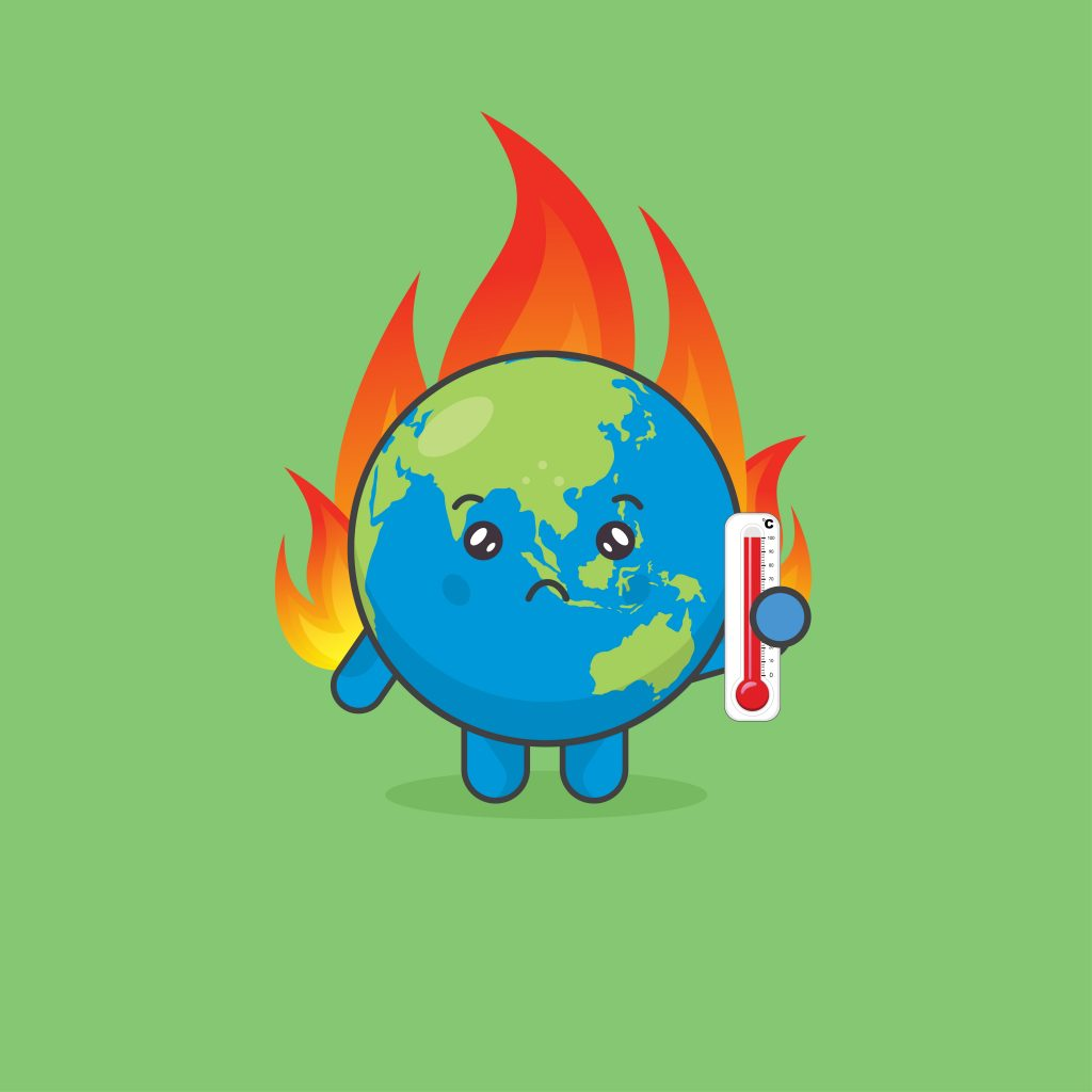 global warming with earth character on fire download free