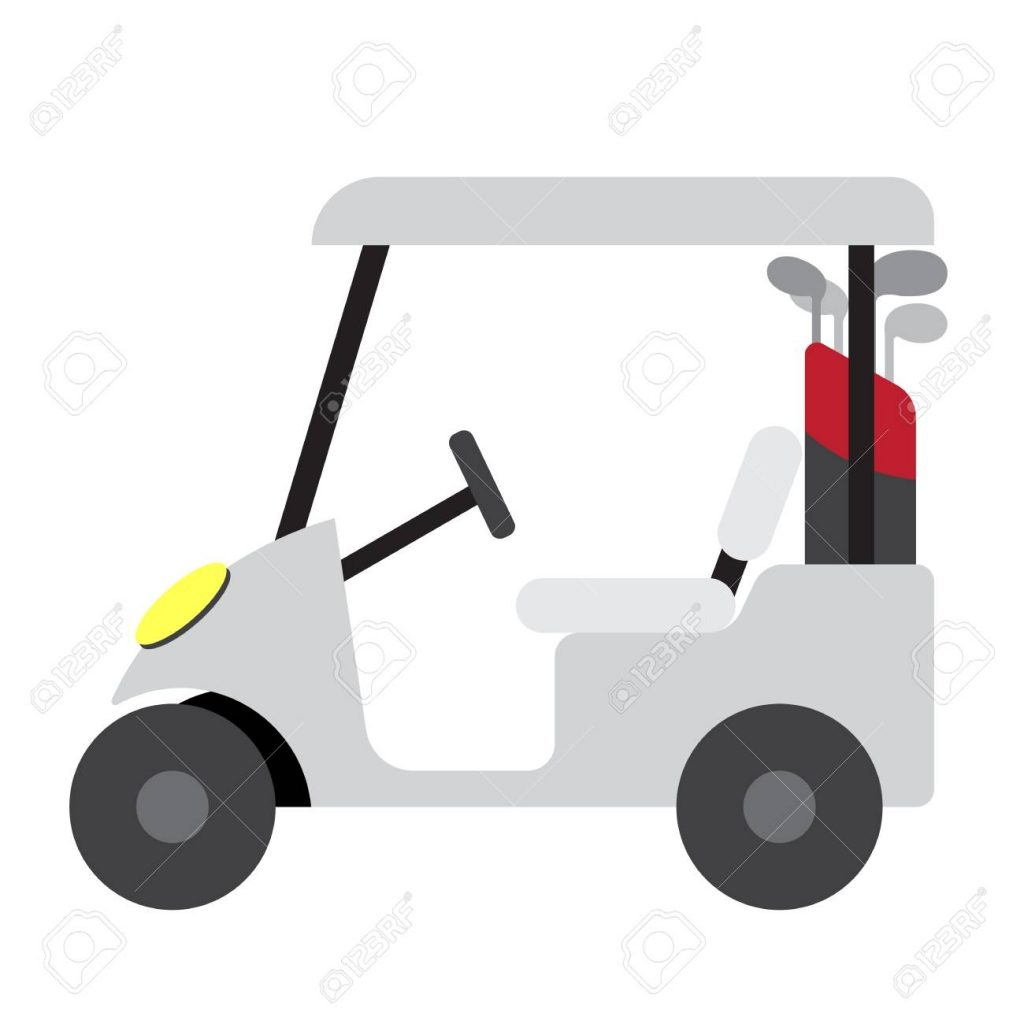 golf cart transportation cartoon character side view isolated
