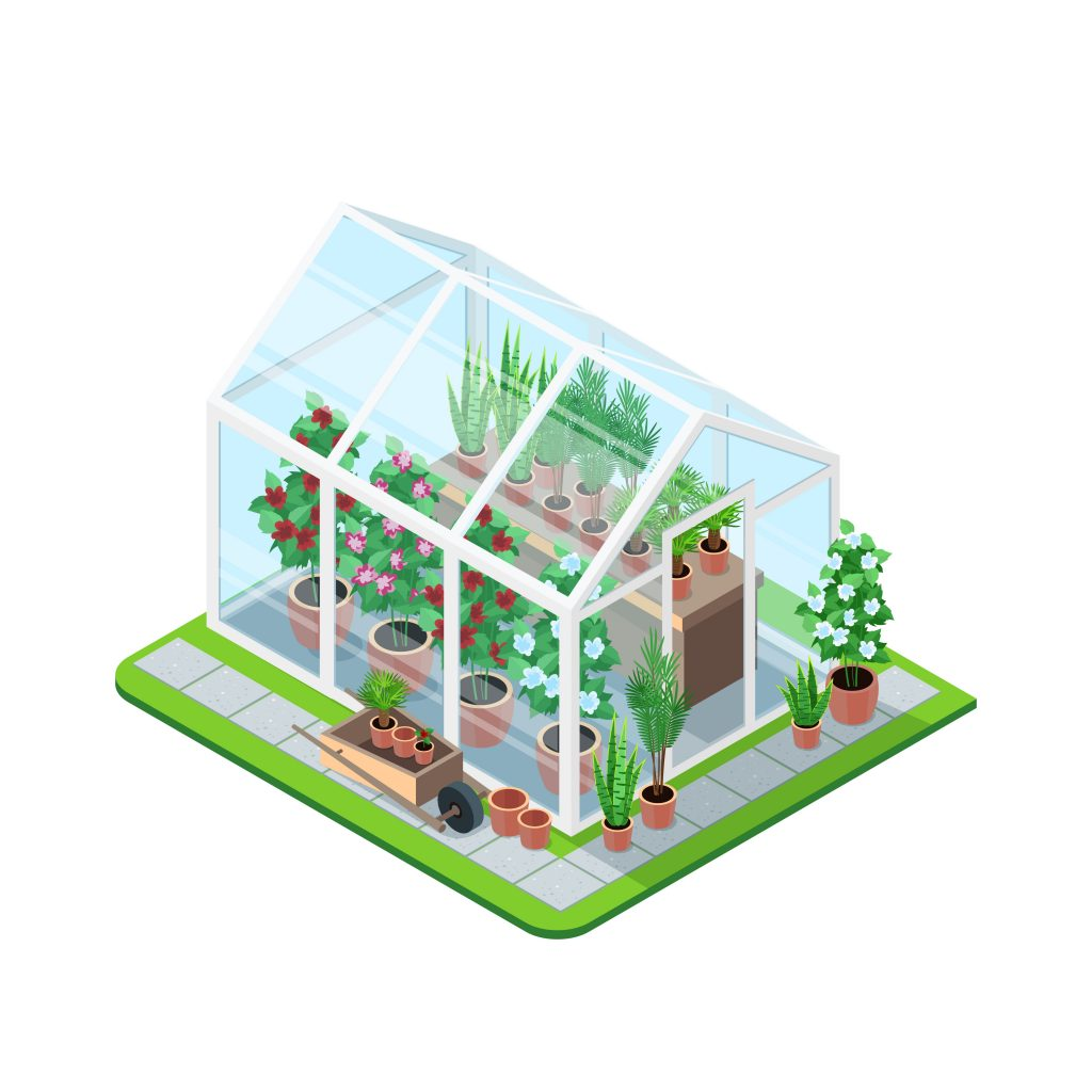 greenhouse isometric composition download free vectors