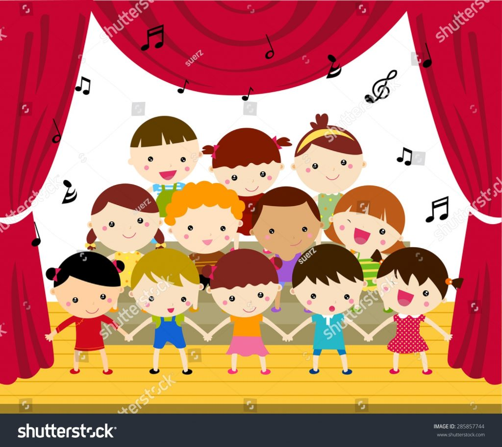 group children singing stock vector royalty free 285857744