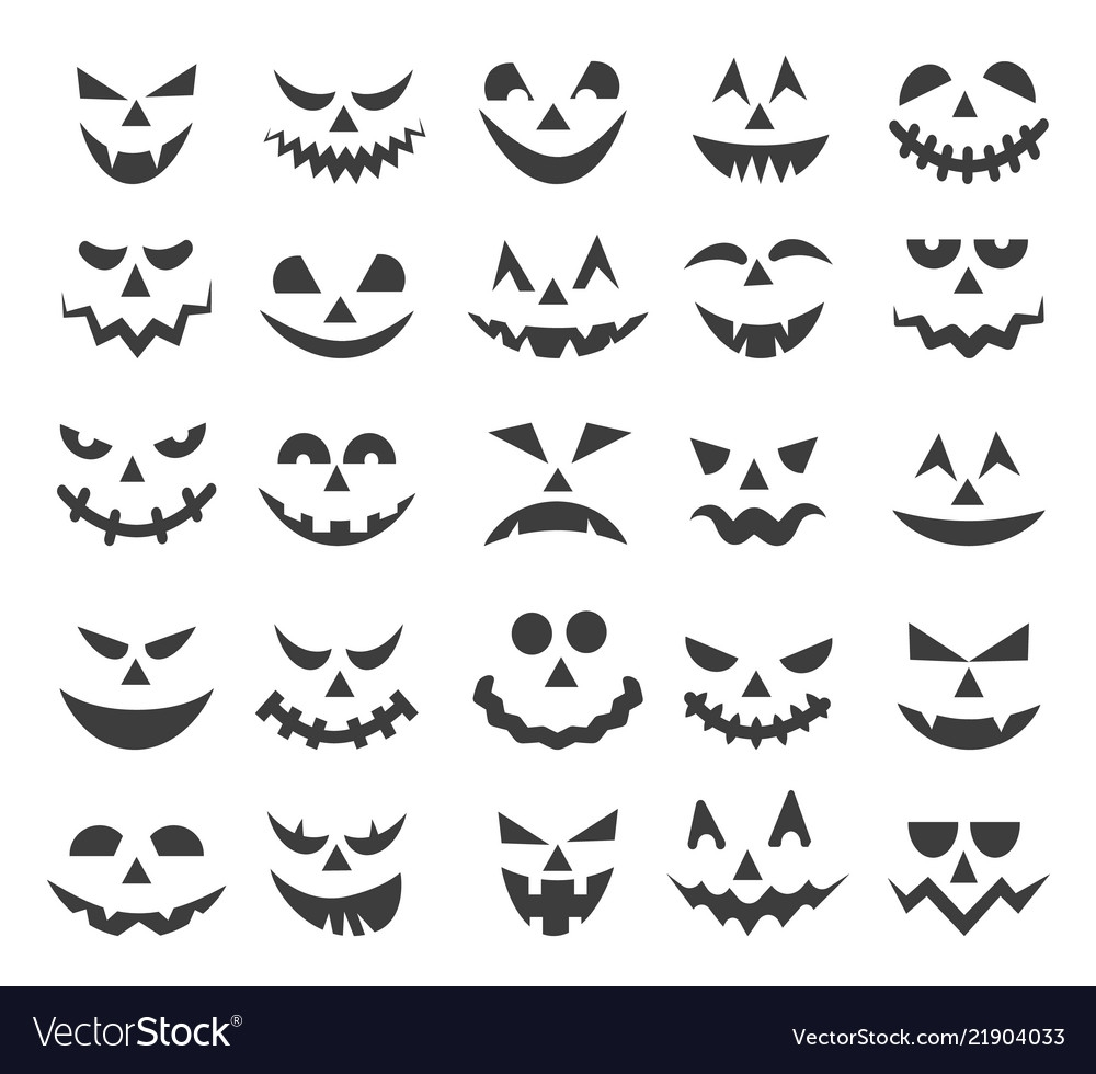 halloween ghost faces set
