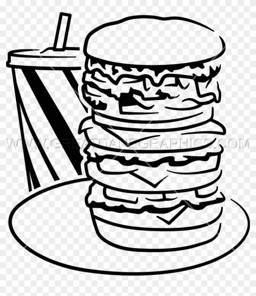 hamburger clipart black and white burger in black and