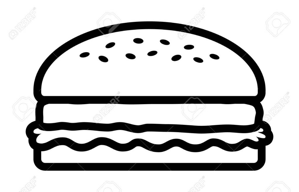 hamburger or burger with lettuce and beef patty line art vector