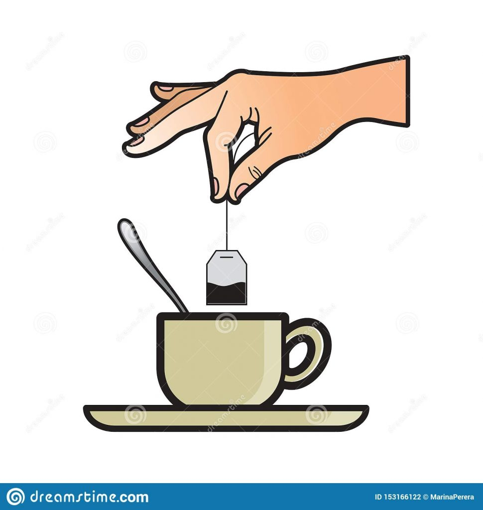 hand dipping tea bag in tea cup drawing stock vector