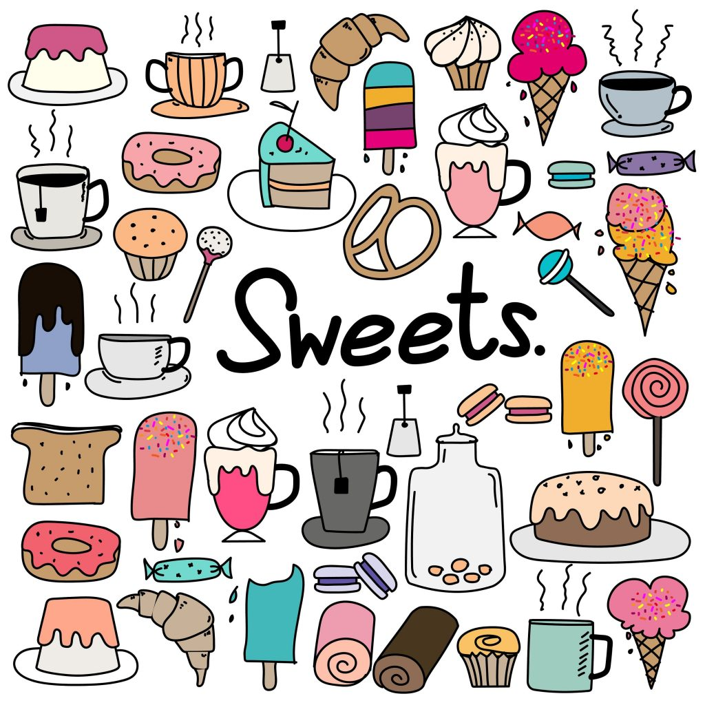 hand drawn doodle sweets clipart doodle sweets clipart