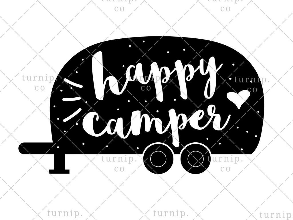 happy camper png sublimation graphic in black and white