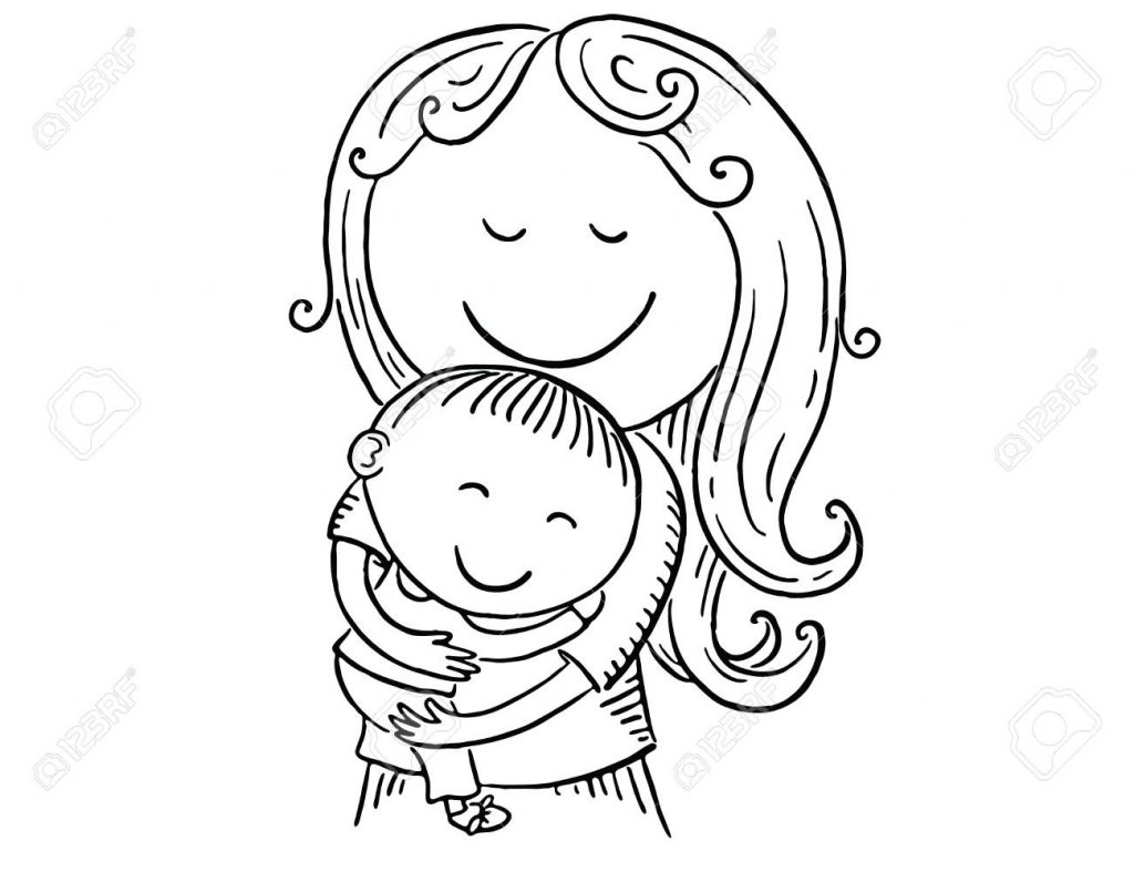 happy cartoon mother with a child vector illustration black