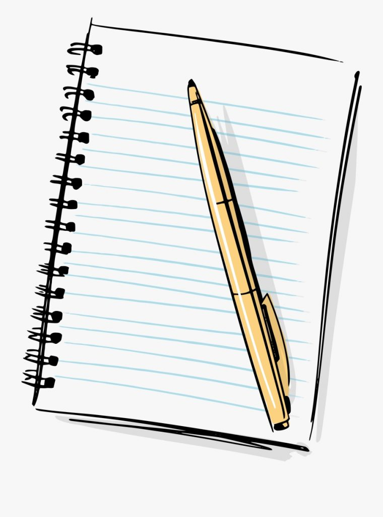 hd cartoon pencil and paper notebook and pen clipart