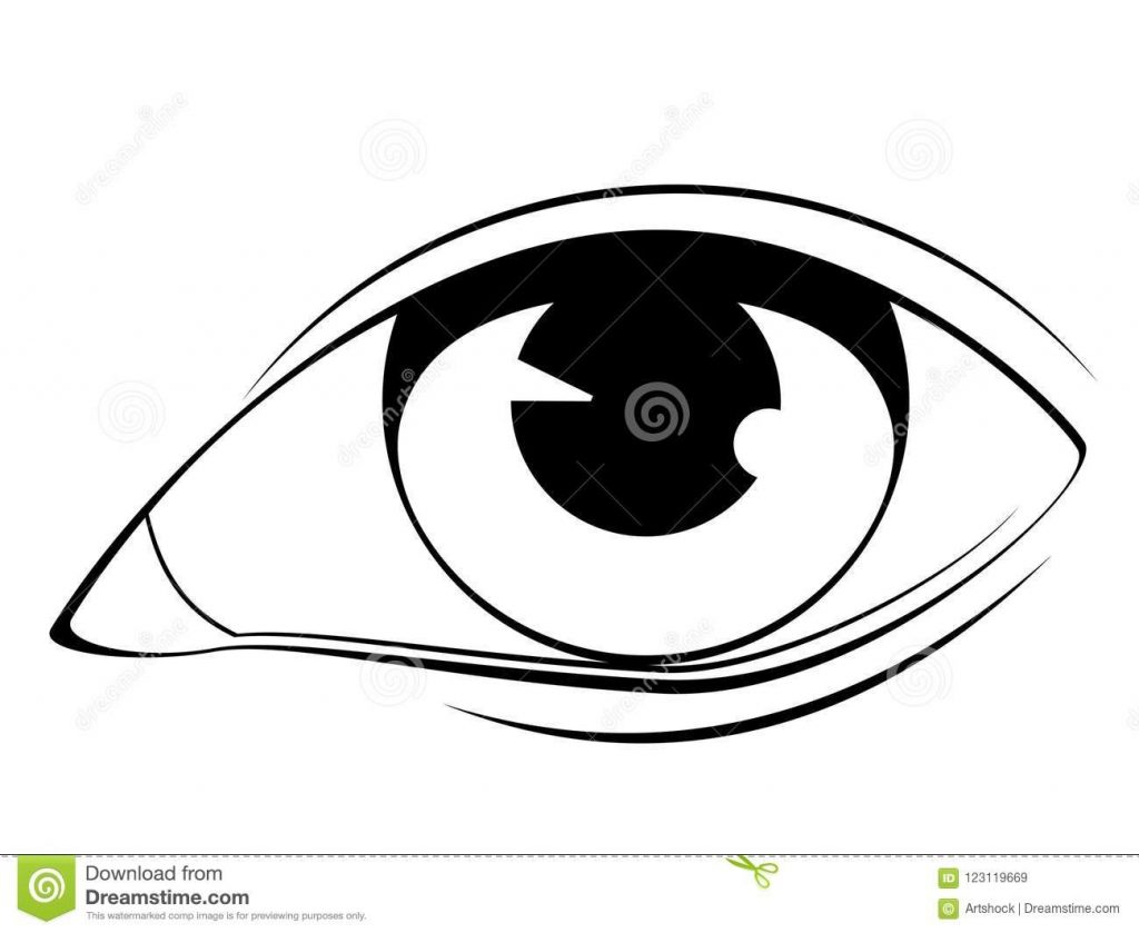human eye in black and white stock vector illustration of