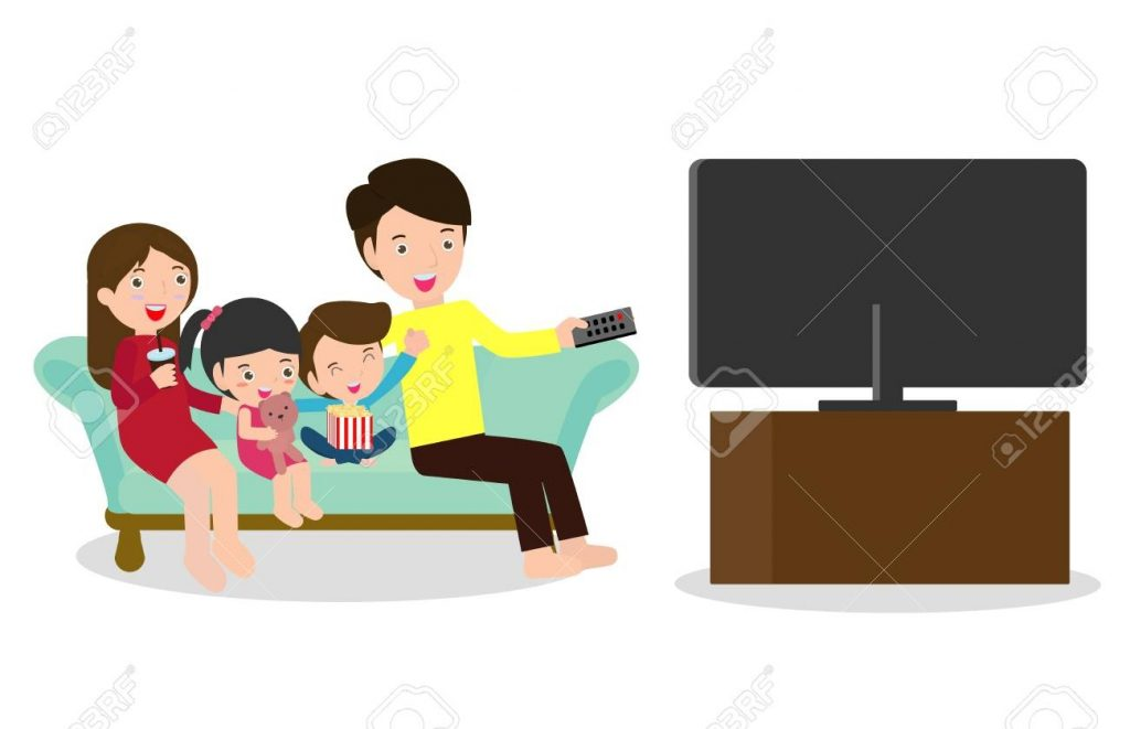 illustration of a family watching a tv show together happy family