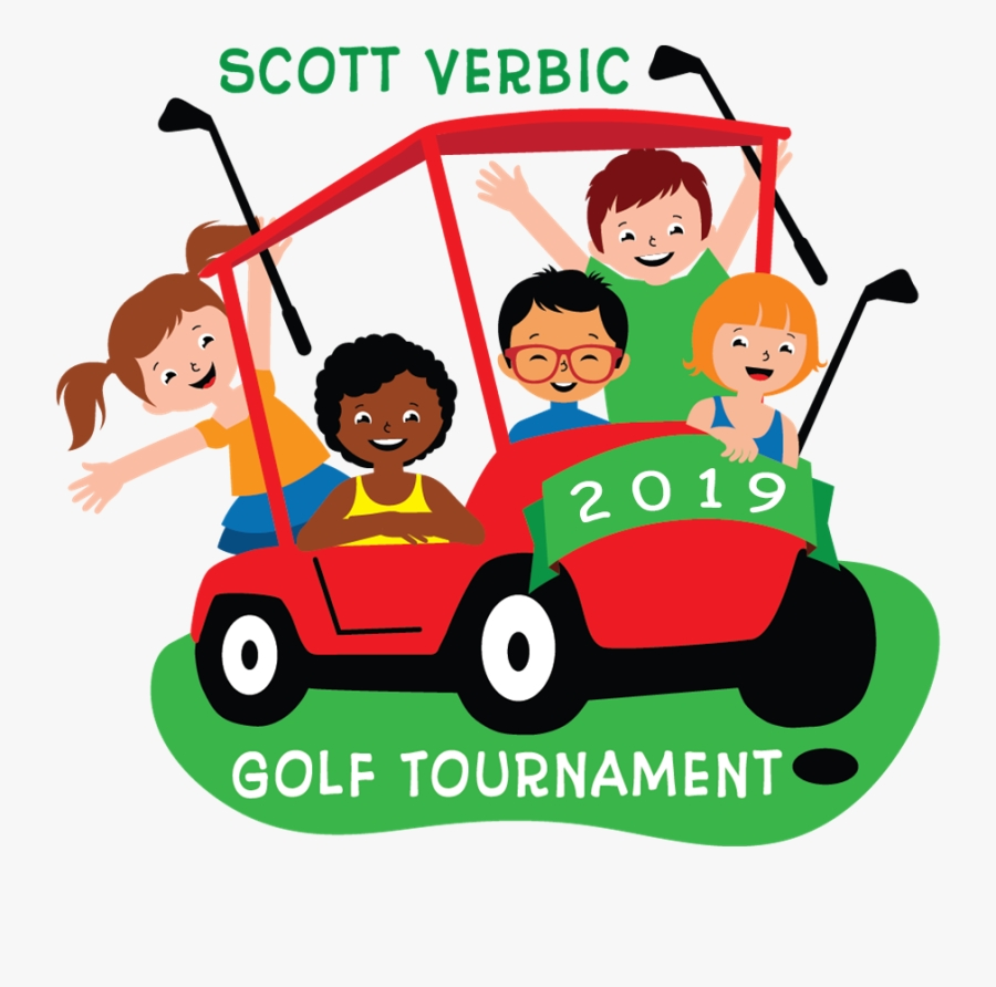 image logo of children riding on golf cart golf cart with