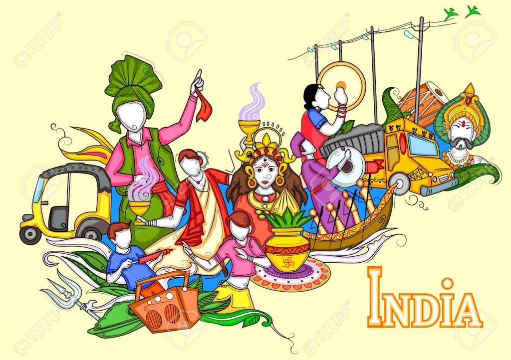indian collage illustration showing culture tradition and festival