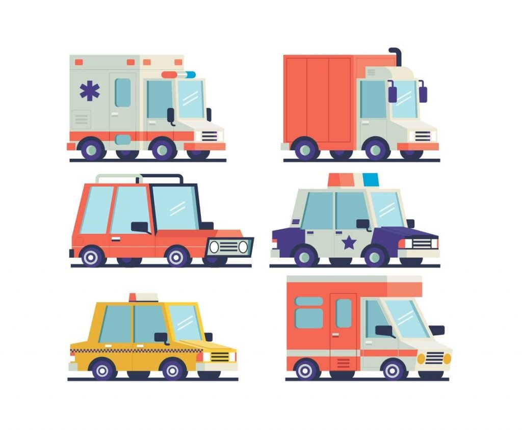 isometric cars and trucks clipart vector vector art