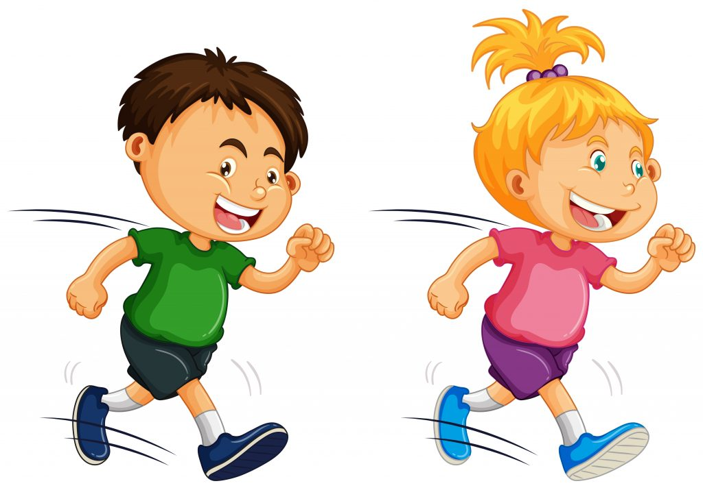 kids running on white background download free vectors