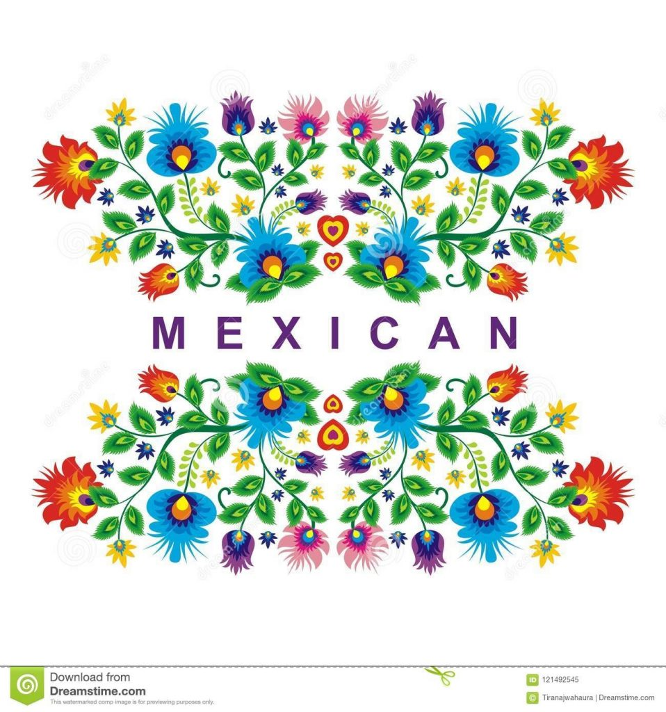 lovely mexican ethnic floral decoration design stock vector