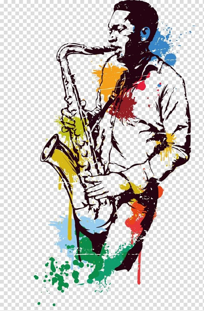 man playing saxophone saxophone jazz stained water