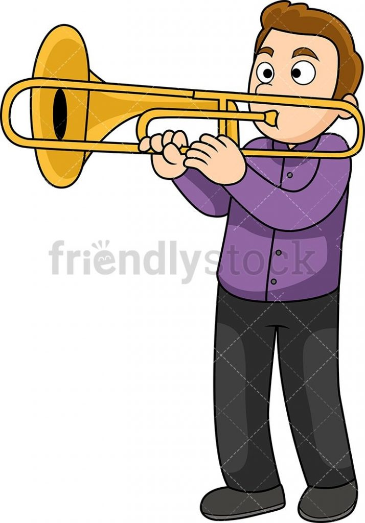 man playing the trombone cartoon vector clipart