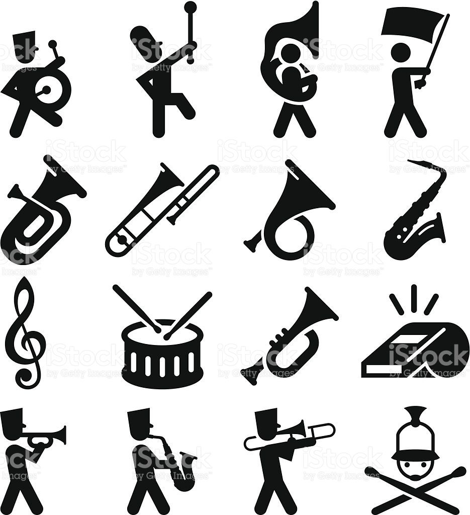 marching band icons professional clip art for your print or
