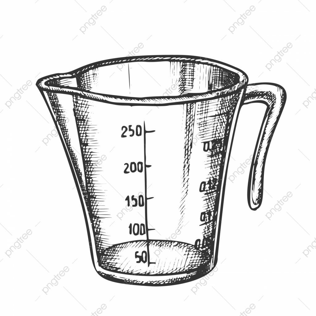 measuring cup for baking and cooking ink vector measuring