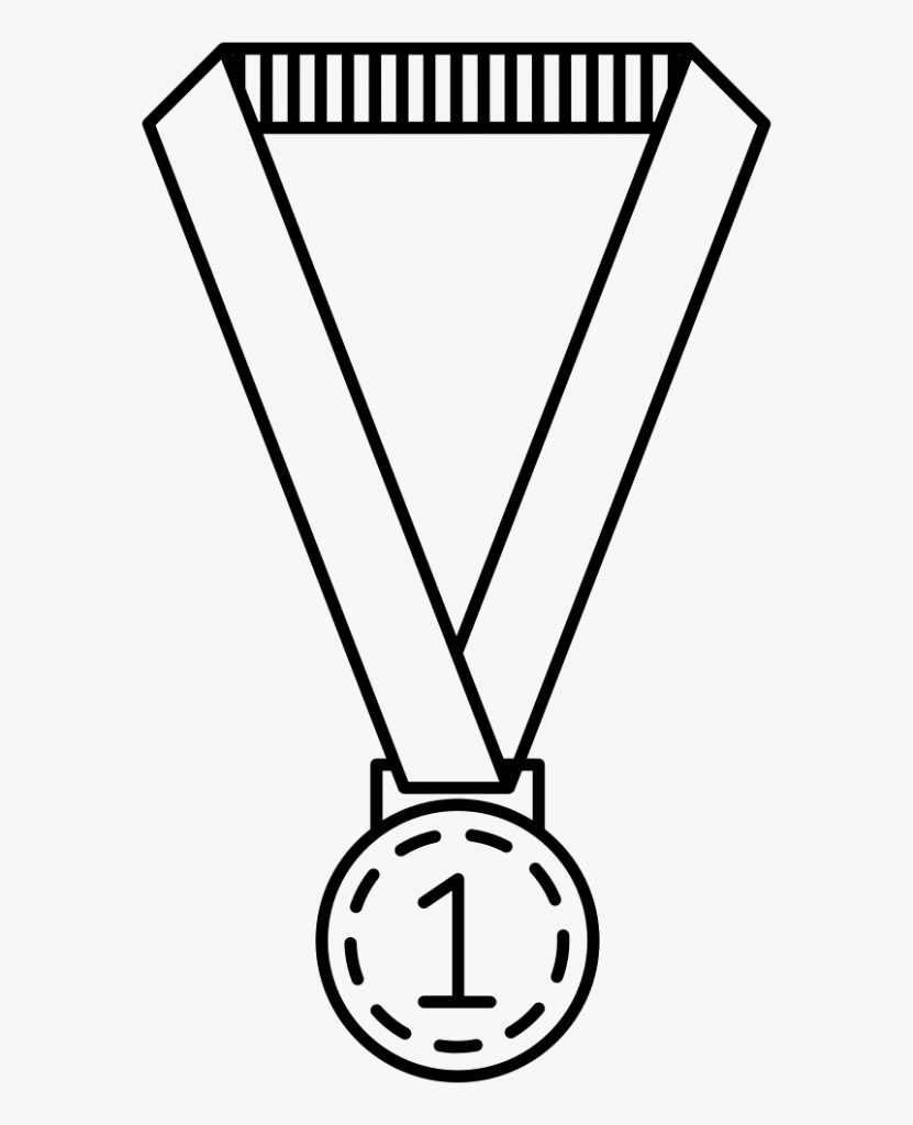 medal hanging of a ribbon clip art medal black and white