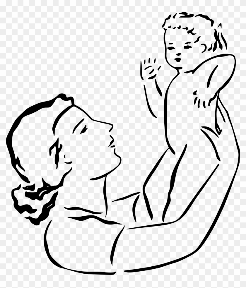 mother holds ba black and white clip art mom free