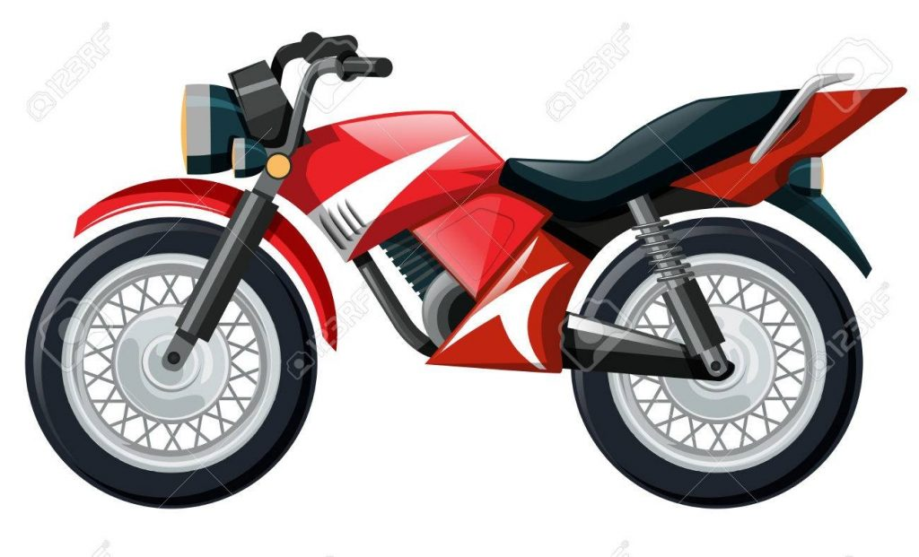 motorcycle in red color illustration