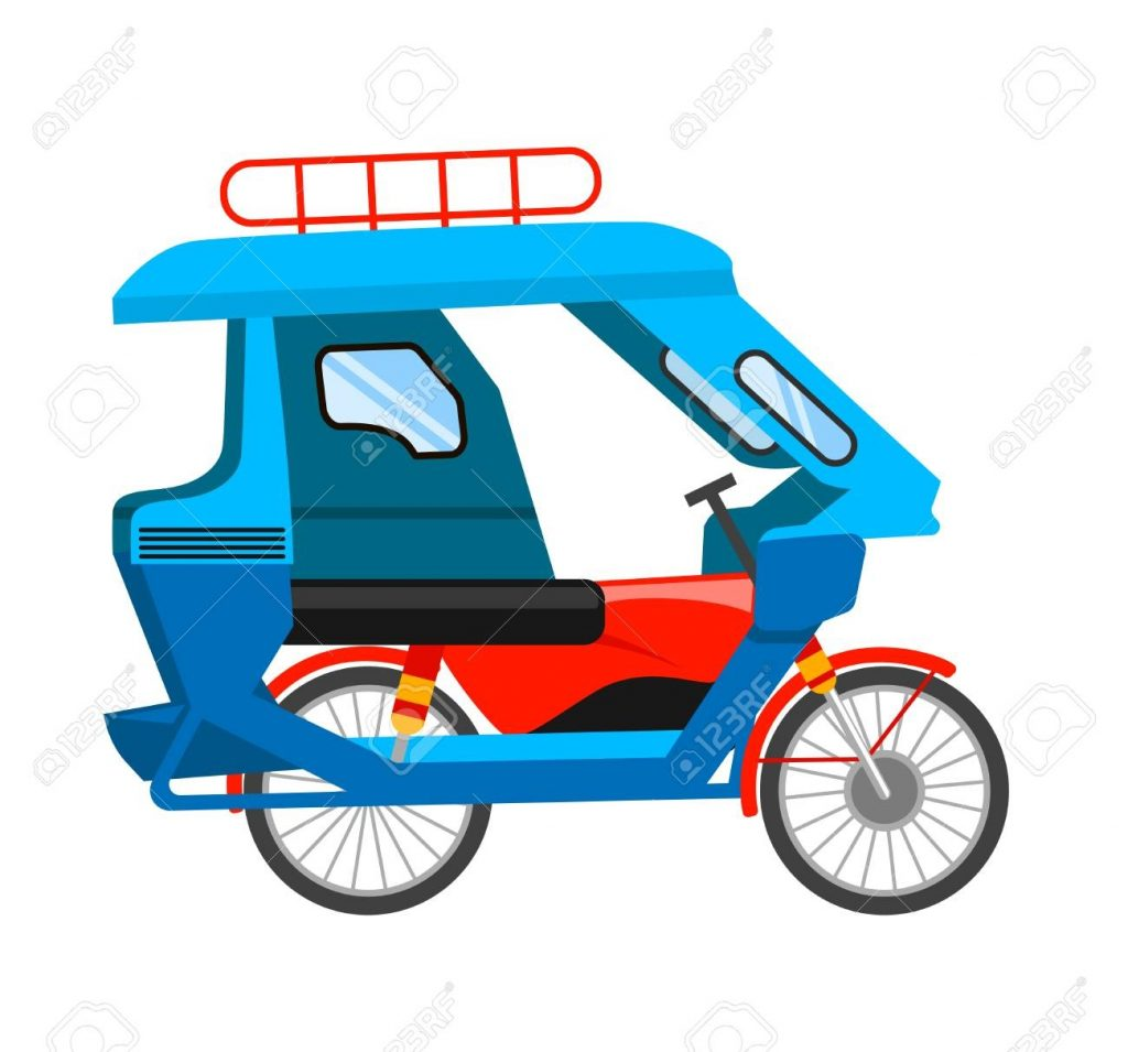motorized tricycle asian transport vector flat illustration