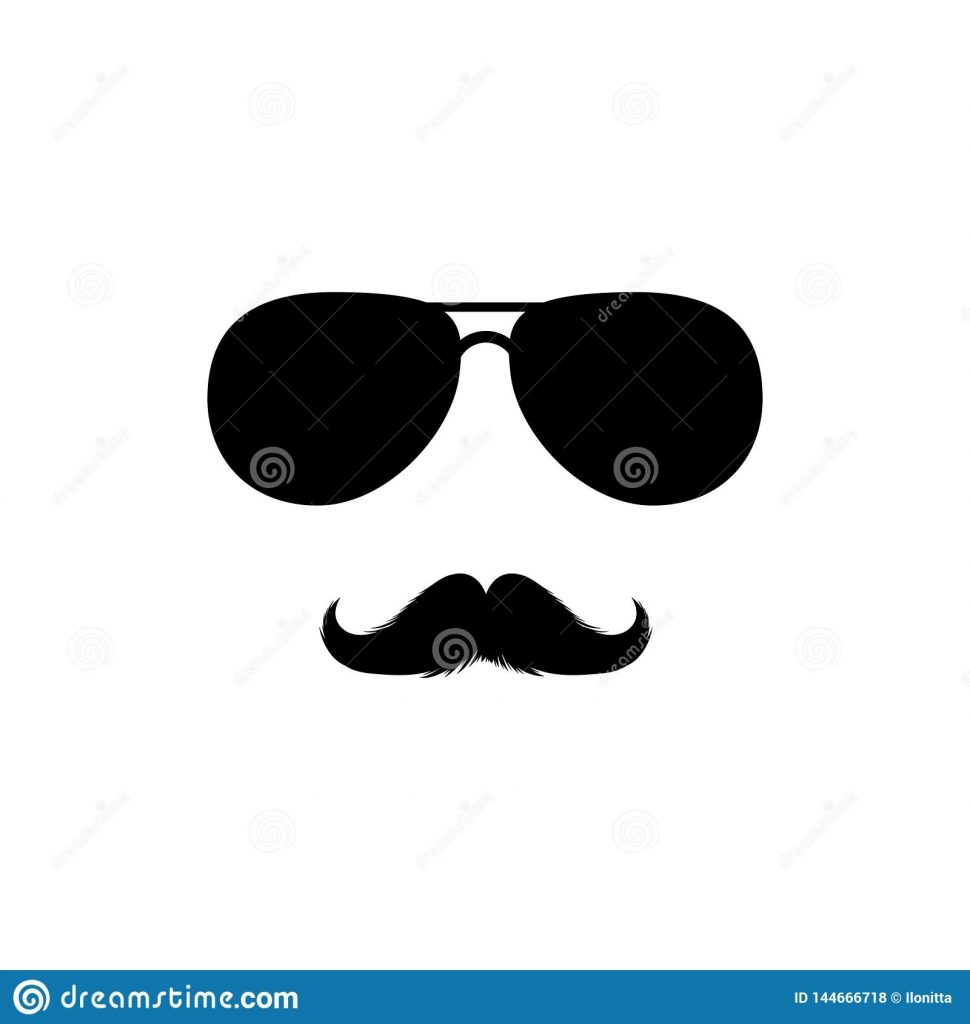 moustaches and sunglasses clipart black isolated vector