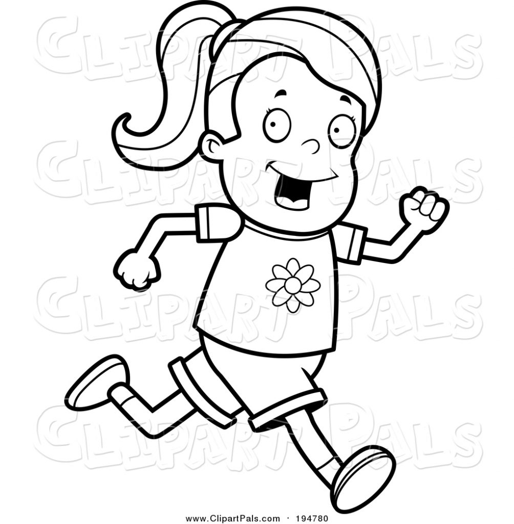 pal clipart of a lineart running girl cory thoman 194780