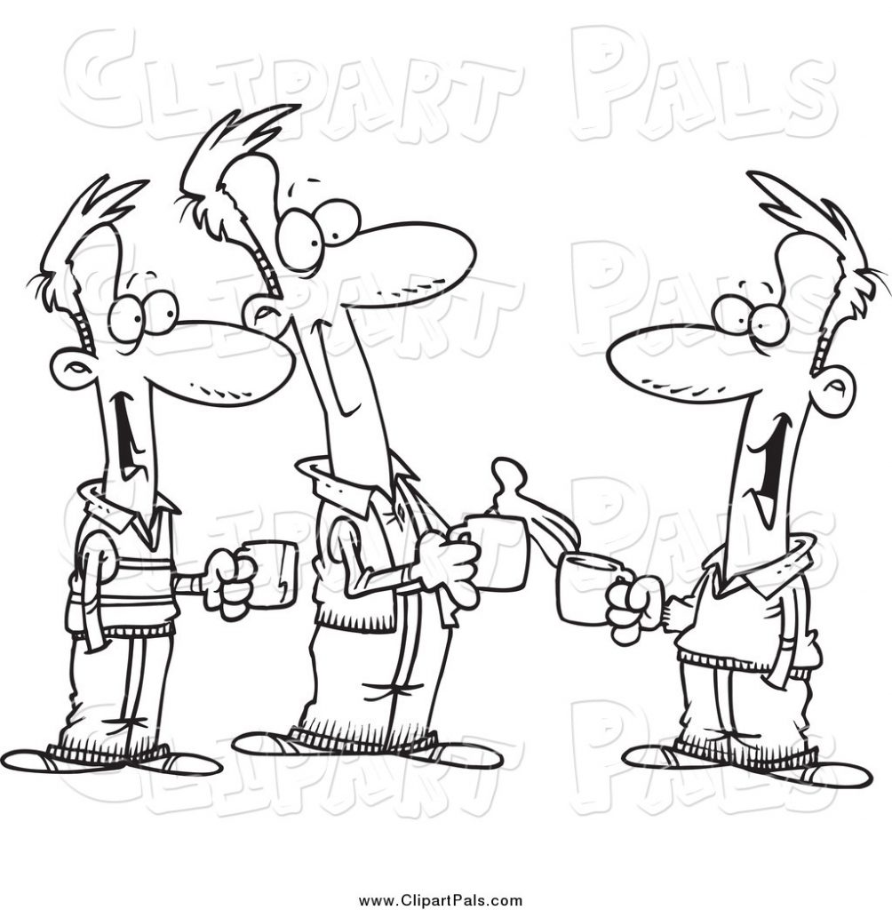 pal clipart of black and white brothers talking over coffee