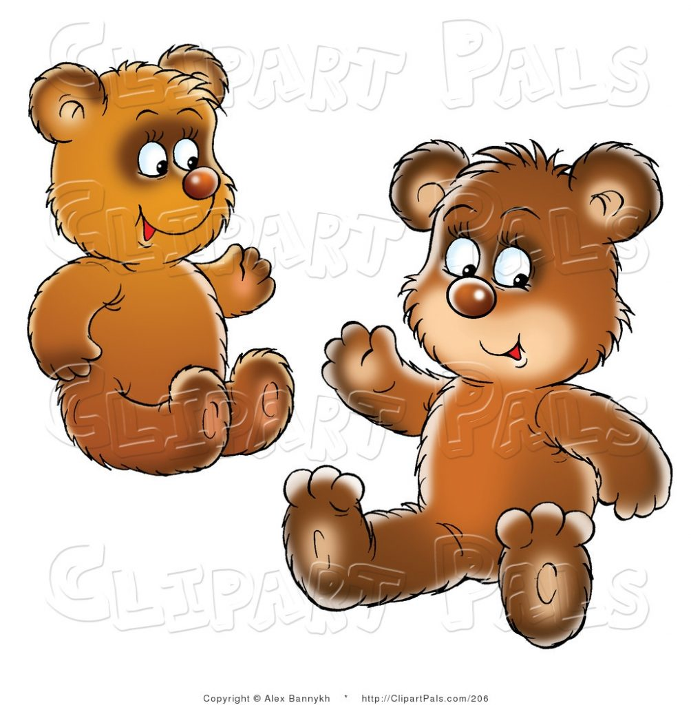 pal clipart of two brown bear cubs siblings or friends